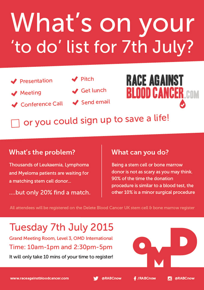 OMD & Race Against Blood Caner Donor Registration Drive Poster