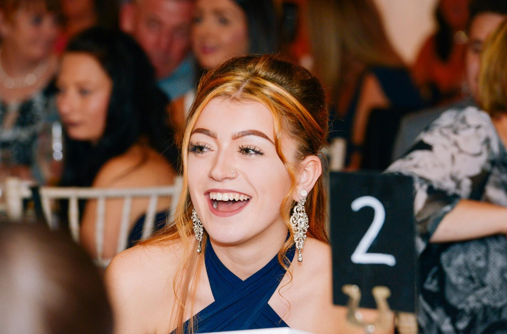 Girl smiling during Race Against Blood Cancer presentation