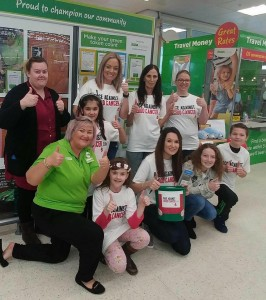 A team of volunteers led by Gemma Elsmore at Asda Donnington for a donor drive to find a #Match4Khaleel