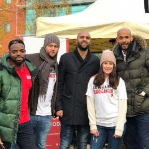 Carl Ikeme (centre) with some of the Race Against Blood Cancer team